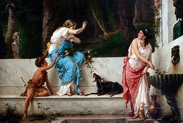 Luigi Crosio (Italian, 1835-1915) Classical maidens at a spring