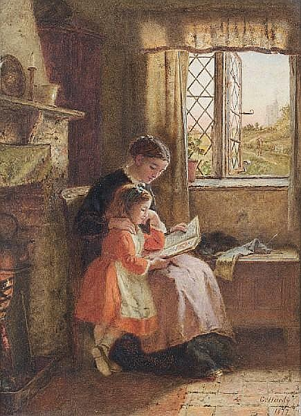 George Hardy (British, 1822-1909) The evening hour