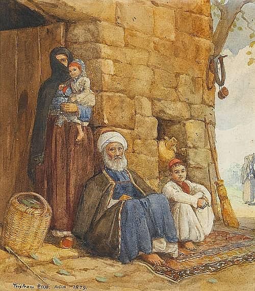 Tristram Ellis (British, 1844-1922) A Druse family of the Lebanon 26 x 23 cm. (10¼ x 9 in.)
