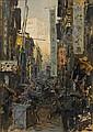Erich Kips (German, 1869-died circa 1945) Hong Kong street (towards Victoria Peak) 50 x 35 cm. (19¾ x 13¾ in.), Erich Kips, Click for value