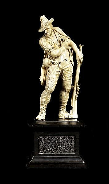A German 18th century carved ivory figure of a hunterPossibly workshop of Christoph Ludwig Von Lucke, German (1703-1780)