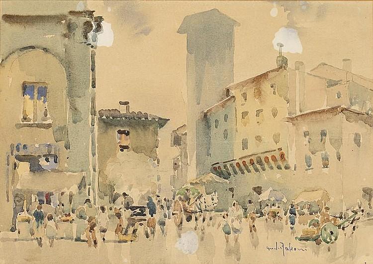 Giulio Falzoni (Italian, 1900-1978) An Italian town square