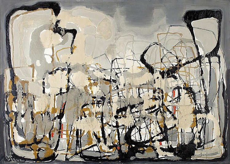 Yannis Maltezos (Greek, 1915-1987) Composition I / Harbour 100 x 140 cm.