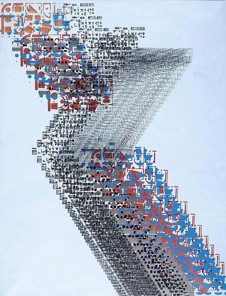 Constantin Xenakis (French, born 1931) Parcours 116 x 89 cm.