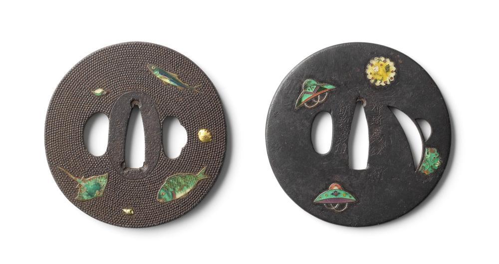 Two iron and cloisonné-enamel tsuba (sword guards) Edo period (1615-1868), 19th century (2)