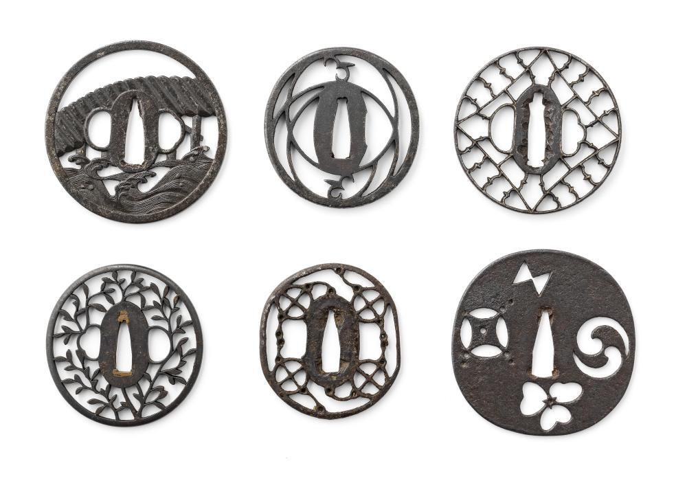 Six tsuba (sword guards) Momoyama (1573-1615) to Edo (1615-1868) period, late 16th to 19th century (6)