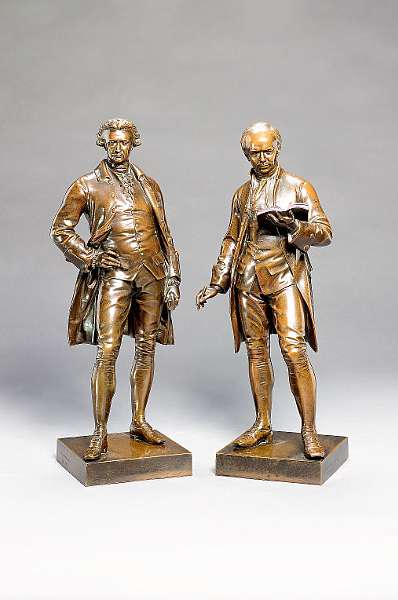 John Henry Foley (Irish, 1818-1874): A pair of late 19th century Elkington and Co. bronzed electrotype figures of Oliver Goldsmith and Edmund Burke