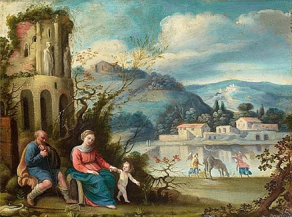 Circle of Carlo Saraceni (Venice 1579-1620) The Rest on the Flight into Egypt