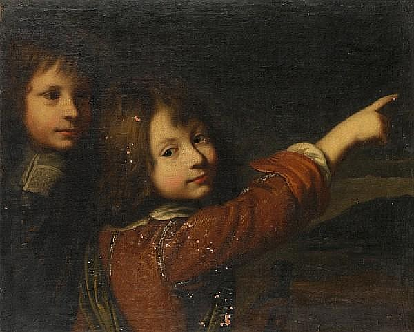 Circle of Wallerant Vaillant (Lille 1623-1677 Amsterdam) Portrait of two young boys, before an open landscape
