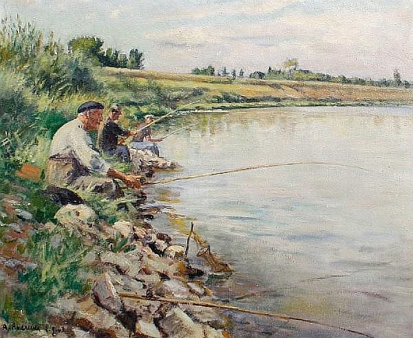 Alfred Louis Andrieux (French, 1879-1945) Fishing on a summers day