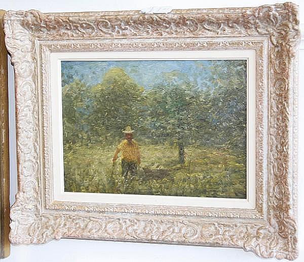 William Mason (British, 1906-2002) Man in an orchard