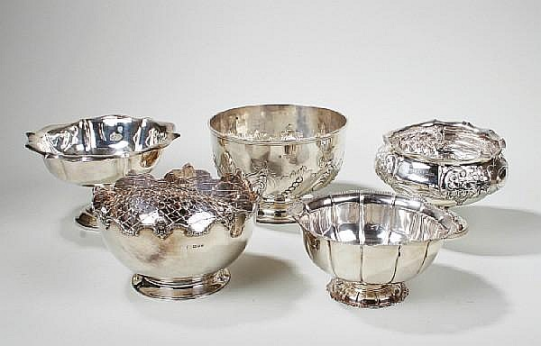 A silver rose bowl 'D'Ollone Trophy' by William Gibson & John Langman London 1896 (5)