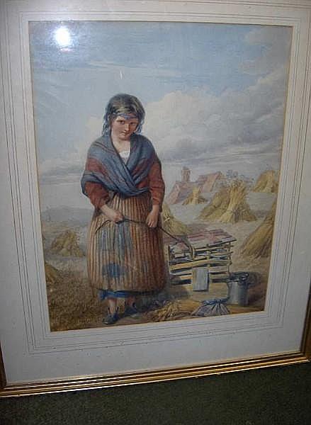William Lee (British, 1810-1865) A farm girl in a cornfield