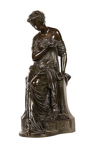 Joseph-Charles de Blézer (French, Fl. 1860-1885): A bronze figure of a girl 'Amour au papillon'