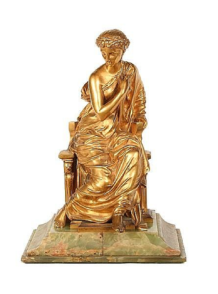 Henry Étienne Dumaige (French, 1830-1888): A gilt bronze figure of a classical maiden cast by Georges Emile Henri Servant (French, 1828-1890)