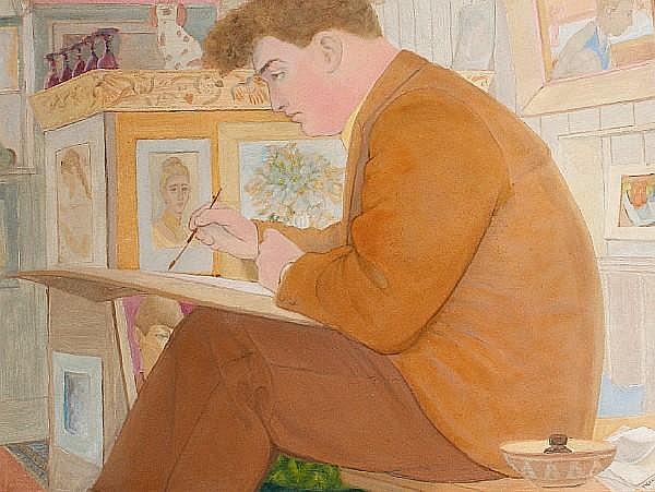 Peter Samuelson (British, 1912-1996) Big John in the art class
