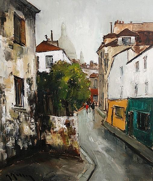 Marcel Masson (French, 1911-1988) Parisian street scenes each 55.5 x 46.5cm (21 3/4 x 18 1/4in) (2)