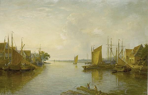 John Moore of Ipswich (British, 1820-1902) A view of the Yare from Yarmouth Bridge
