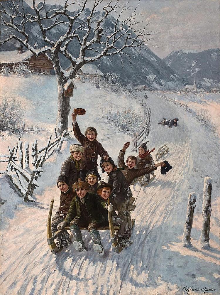Theodore Kleehaas (German, 1854-1929) Children sledding