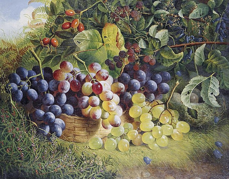 Charles Stuart (British, active 1854-1868) Still life of grapes in a basket on a grassy bank