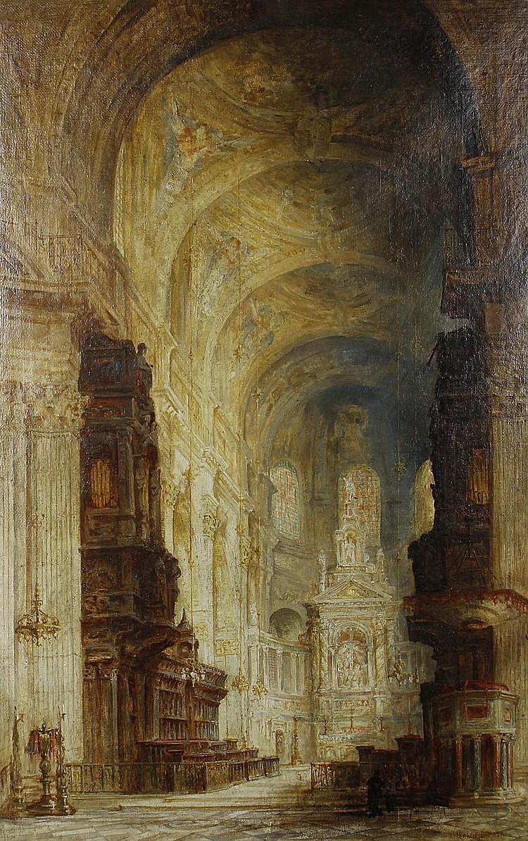 James Alphege Brewer (British, active 1909-1938) A cathedral interior