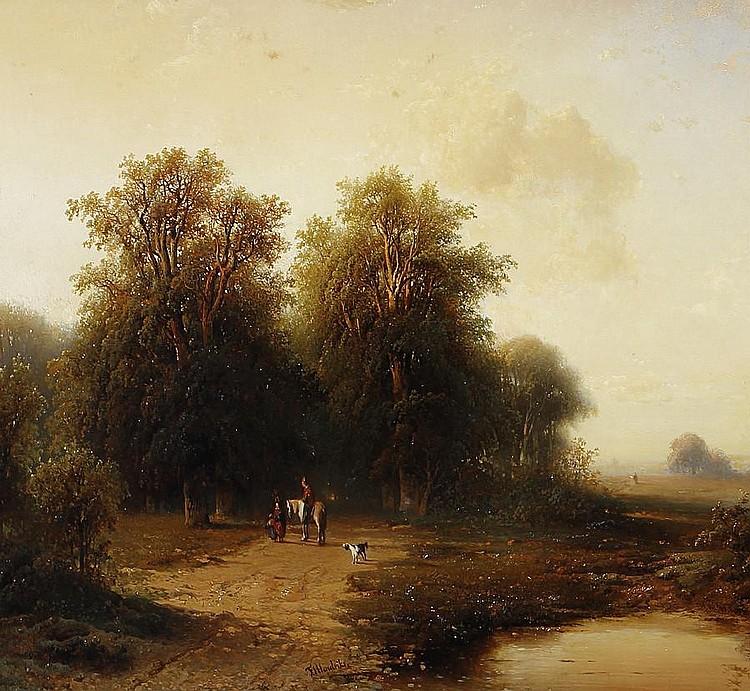Frederik Hendrik Hendriks (Dutch, 1808-1865) A group of figures in a landscape outside Arnhem
