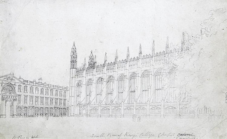 Augustus Charles Pugin (French, born circa 1762-1832) The South View, the South Porch and an interior view of King's College Chapel, Cambridge, a set of three studies 16.2 x 27cm (6 3/8 x 10 5/8in); 27.5 x 21.3cm (10 13/16 x 8 3/8in) and 26.4 x