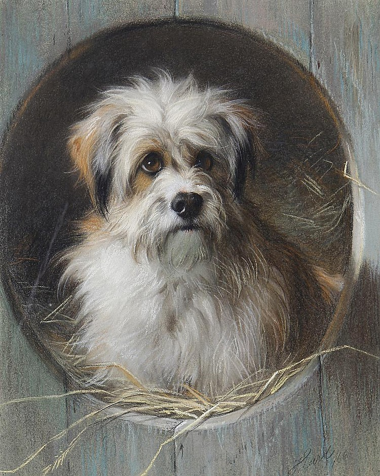 Thomas William Earl (British, active circa 1836-1885) A terrier looking out of his kennel
