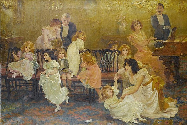 Arthur Drummond (British, 1871-1951) Musical chairs