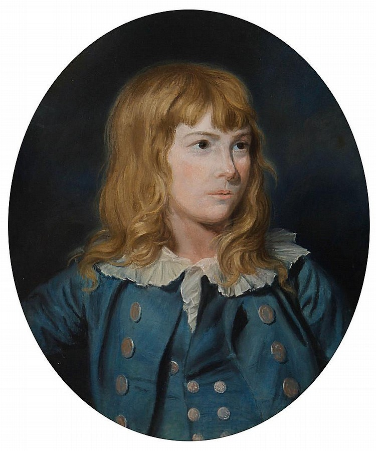 Thomas Holloway (London 1749-1827 Coltishall) Portrait of a boy, bust-length, in a blue coat and waist coat