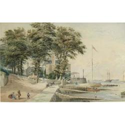 Charles Gregory (British 1810-1896) The Royal Yacht Squadron's headquarters and the promenade at Cowes 11 3/4 19 1/4 in. (30.2 x 49...