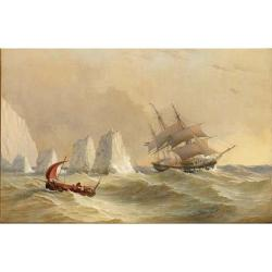 Charles Gregory (British 1810-1896) A Dutch merchantman rounding the Needles 18 x 27 1/4 in. (45.5 x 69 cm.)