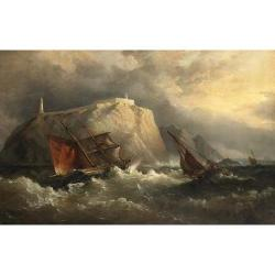 Admiral Richard Brydges Beechey (British 1808-1895) The Irish brigantine 'Sligo' and other vessels in rough weather, below the Eagle.