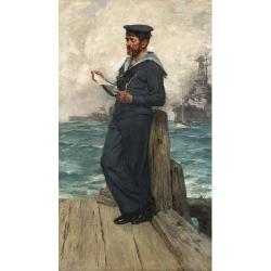 Arthur David McCormick, RI (British 1860-1943) A sailor from HMS Invincible reading on a quayside 68 1/2 x 39 1/4 in. (174 x 100 cm....