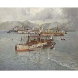 Arthur James Wetherall Burgess (Australian 1879-1957) Unloading convoy vessels in Holy Loch 24 1/2 x 29 1/2 in. (62 x 75 cm.)