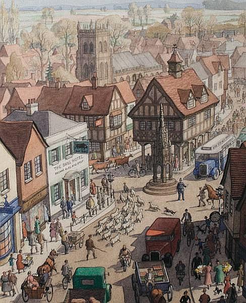 Ronald Lampitt (British, 20th Century) Market Day