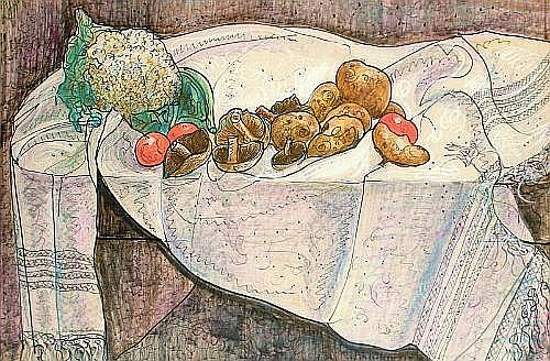 William de Belleroche (British, 1912-1969) Still life with vegetables