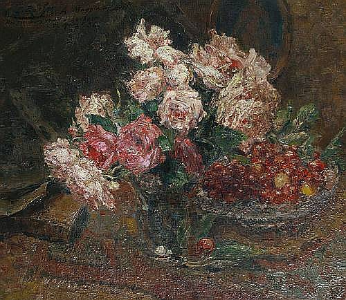 Ernest Rocher (French, 1872-1938) Still life with roses and cherries