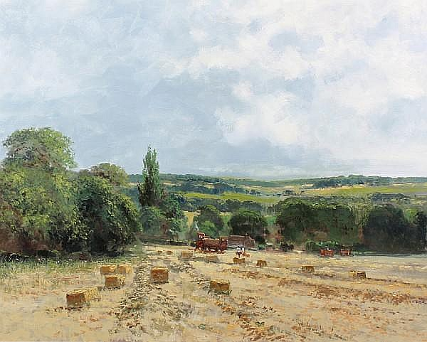 Charles Neal (British, 20th Century) 'Harvesting near Elkstone' 77.5 x 105cm.