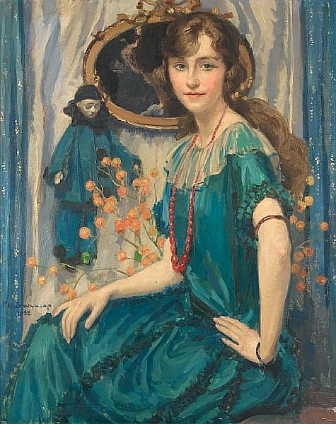Philippe Swyncop (Belgian, 1878-1949) Portrait of a girl in blue