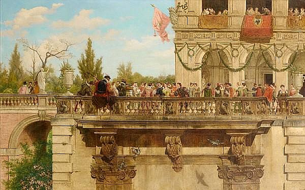 Tomás Moragas Torras (Spanish, 1837-1906) Elegant figures on a balcony