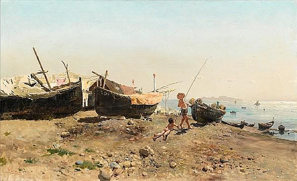 Antonino Leto (Italian, 1844-1913) On the Mergellina shore