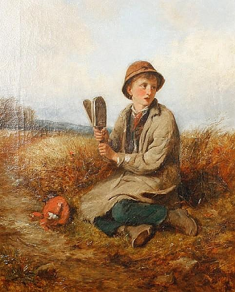 John Wells Smith (British, active 1870-1875) Boy in a field with a bird scarer