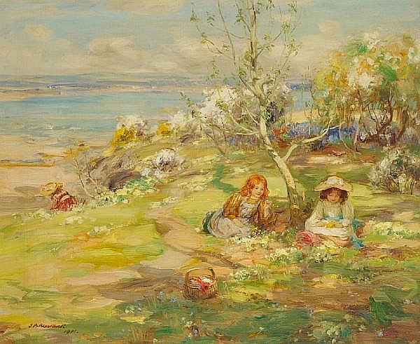 Thomas Bromley Blacklock (British, 1863-1903) Picking primroses
