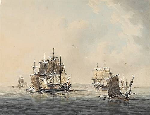 Robert Cleveley (British, 1747-1809) Warships drying their sails off a coastal town 44.5 x 57.8cm. (17 1/2 x 22 3/4in.)