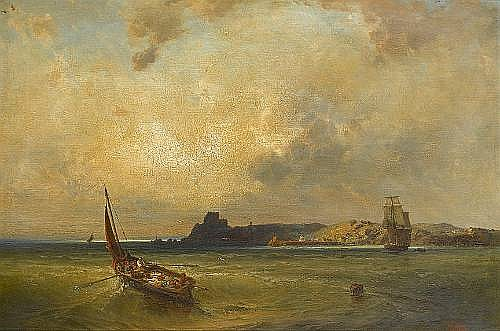 Hermann Eschke (German, 1823-1900) 'The Mount Orgueil on the Isle of Jersey from the sea side'