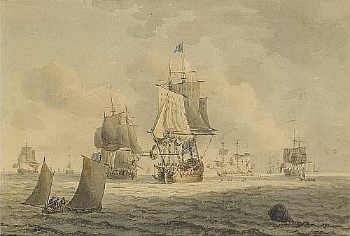 Robert Cleveley (British, 1747-1809) A Squadron of the Blue offshore, with small craft nearby 15.2 x 22.8cm. (6 x 9in.)