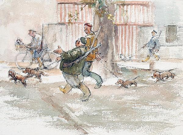 Roland Batchelor (British, 1889-1990) Dog walking