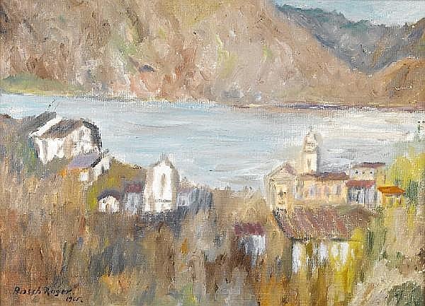 Emili Bosch Roger (Spanish, 1894-1980) Lake scene