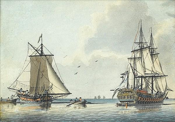 Attributed to Robert Cleveley (British, 1747-1809) Ships of the fleet becalmed offfshore with trading vessels and smaller craft nearby
